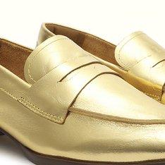 Mocassim Metalizado Ouro Tati