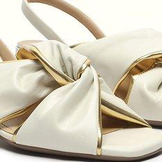 Sandalia Pétala Branca/Ouro Cris