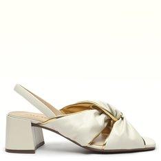 Sandália Branco Pétala/Dourado Cris