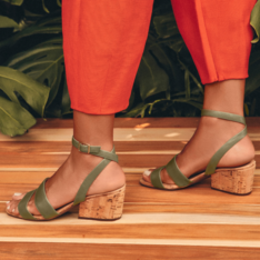 Sandália Verde Couro Bibiana