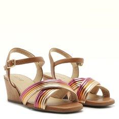 Sandália Bibiana Couro Multicolorido