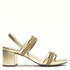 Sandália Dourada Tiras Brilho