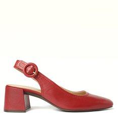 Sapato Vermelho Peep Toe